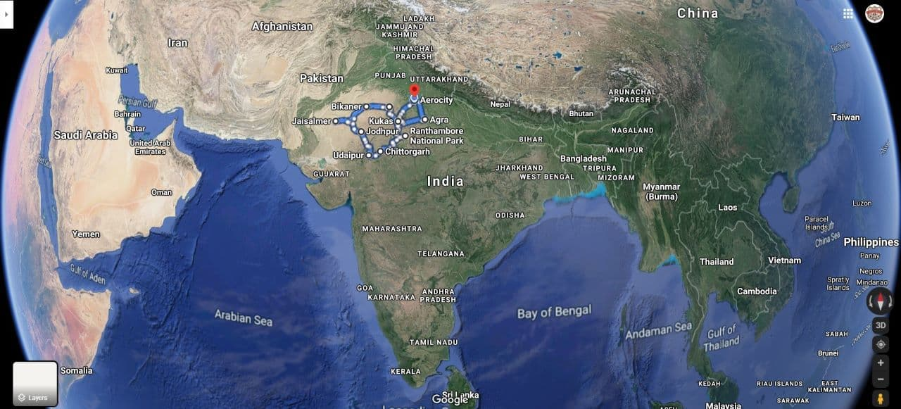 """Route Map for India Motorcycle Tour Co.'s """"Tiger & The Taj"""" Rajasthan Tour"""